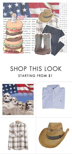 """AMERICA //"" by toby-senpai ❤ liked on Polyvore featuring Polo Ralph Lauren, Ariat, country and WelcomeToAmericaFinny"
