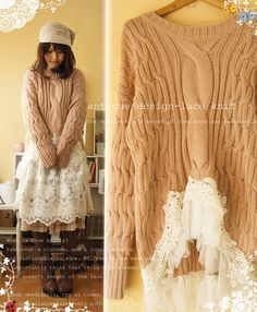 Sweater re-fab: cut waste band off sweater, with upper cut in center front, sew fancy lace on bottom edge to finish