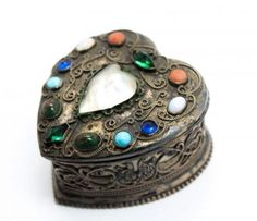 Antique c1900 F&B Sterling Silver Jeweled Filigree MOP Heart Jewel Box in Antiques, Silver, Sterling Silver (.925), Boxes   eBay