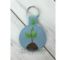 Tree Snap Tab Key Fob Embroidery Design