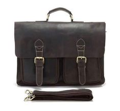 69d7adda12c1 Men's Vintage genuine leather laptop bag Cow leather business bag crazy  horse leather briefcase Men Portfolio