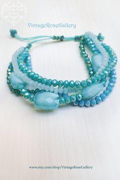 Aqua Boho Chic Bracelet, Sea Glass Multi Strand Bracelet, Summer Aqua Blue Bracelet by VintageRoseGallery Strand Bracelet, Vintage Roses, Aqua Blue, Sea Glass, Turquoise Bracelet, Boho Chic, Jewellery, Trending Outfits, Unique Jewelry