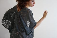 Lace kimono jacket Sheer grey boho Kimono robe Kimono cardigan kimono dress gray robe festival Kaftan Beach cover up Bridal lingerie SELENA