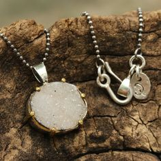 Light gray druzy pendant necklace in silver bezel and brass prongs setting and oxidized sterling silver ball chain/TP