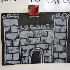 probably grade - from Post: Crowns & Castles & Dragons, Oh My! Four Square Writing, Chateau Moyen Age, Fairy Tales Unit, 2nd Grade Art, Grade 1, Magic Treehouse, Fairytale Art, Medieval Art, Art Activities