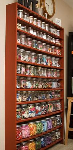 Absolutely ❤ it . . . extra narrow bookcase for mason jars of supplies.