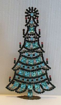 SIGNED HUSAR D Czech Rhinestone Standing CHRISTMAS TREE Blue/Green/Clear/Pink