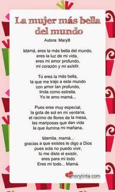 Spanish Mothers Day Poems, Dad In Spanish, Mexican Mothers Day, Mother Poems, Mom Poems, Happy Mother Day Quotes, Funny Mothers Day, Spanish Quotes, Mom Quotes