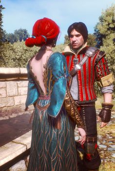 Triss Merigold and Eskel The Witcher 3 Triss Cosplay, Triss Merigold Cosplay, Triss Merigold Witcher 3, The Withcer, The Witcher Books, Witcher Art, Wild Hunt, Couple Drawings, Alternative Outfits