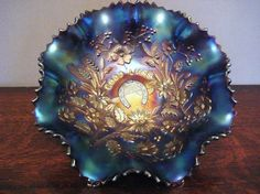 Northwood Carnival Glass Bowl - Good Luck