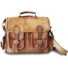 Raagaz Aryan Leather Satchel Briefcase Bag ($125) ❤ liked on Polyvore featuring bags, briefcases e brown