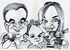 Black and white studio caricature from photos