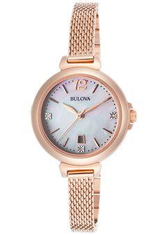 Bulova Watches Women's Diamond Rose-Tone SS MOP Dial Rose-Tone SS 97P108,    #Bulova,    #97P108,    #Dress