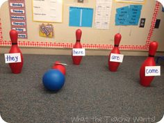 (Latin or Greek) Word Bowling! Have one student come up at a time and call out a sight word. Then, they have to roll the ball and try to hit the pin with the sight word on it. Teaching Sight Words, Sight Word Games, Sight Word Activities, Phonics Activities, Classroom Activities, Learning Activities, Kids Learning, Phonics Games Year 1, Learning Spanish