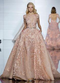ZUHAIR MURAD Haute Couture 2015 | Silk tulle sheath dress and train featuring silk thread embroidery