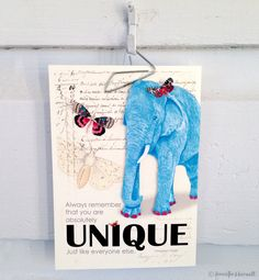 Blue Elephant with Red Painted Toes and Butterfly Hairbow  / You Are Unique...Just Like Everyone Else/ Original Mixed Media Collage Art by BluePlatypusStudio on Etsy