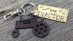 My Other Car is a TRACTOR  Key Ring Key Chain by DuctTapeAndDenim (Accessories, Keychains & Lanyards, Keychains, CSSTEAM, castteam, teametsytx, ecs, farm, girl, farming, country)