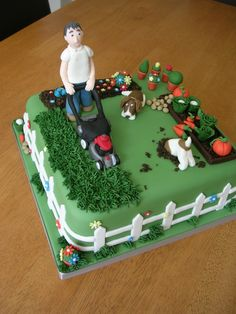 Gardener Cake A cake for a man who recently started his own gardening company - a model of the man himself and of his two dogs with a. Garden Birthday Cake, Second Birthday Cakes, Cool Birthday Cakes, 80th Birthday, Lawn Mower Cake, Vegetable Garden Cake, Farewell Cake, Dad Cake, Garden Cakes