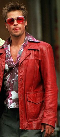 New Fight Club Brad Pitt Real Leather Jacket FC Coat Red - ZH Mens Coats Jackets. offers on top store Tyler Durden, Fight Club Brad Pitt, Men's Leather Jacket, Leather Men, Real Leather, Leather Jackets, Suede Jacket, Black Leather, Bradd Pitt