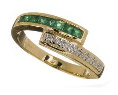 Mogul PR02923EM(M) - Anillo de mujer de oro amarillo (9k) con esmeraldas y diamantes (talla: 13): Amazon.es: Relojes