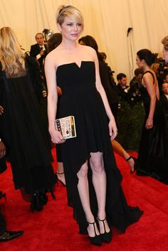 Michelle Williams in Saint Laurent at the Met Gala [Photo by Evan Falk]