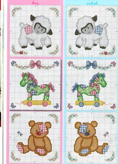 Cross-stitch Cute Block Designs for Baby, part color chart on part Gallery. Cross Stitch Horse, Cross Stitch For Kids, Mini Cross Stitch, Cross Stitch Needles, Cross Stitch Cards, Cross Stitch Animals, Cross Stitching, Baby Embroidery, Cross Stitch Embroidery