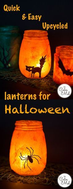 Do you have glass jars gathering dust in a cupboard? Looking for a crafty activity you can do with your toddler? Check these quick easy Upcycled Lanterns for Halloween
