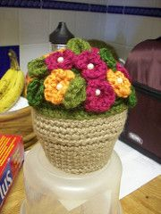 This flowering plant is beautiful and easy care. (Lion Brand Yarn)