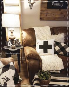 Living room, family room, brown couch, rustic