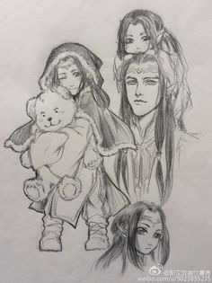Maedhros, two of his brothers and Fingon with the bear