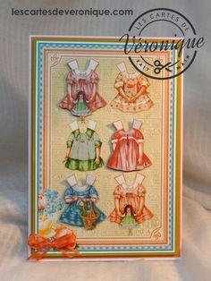 """Double carte artisanale 3D Enfant «Les habits"""" / 3D handmade child double card «Clothes» Graphic45© papers"""