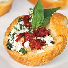 Healthy Appetizer Recipes   Herbed Goat Cheese Bites   *****5Star Rating...This scrumptious appetizer is easy to prep. Simply roll a log of creamy goat cheese in fresh chopped thyme, parsley, tarragon, and mint in advance. Then, just before serving, spread onto fresh toasted baguette slices and top with sun-dried tomatoes and basil leaves.