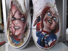 Custom Painted Classic Horror Movies Vans Converse Toms Chucky Frankenstein Dracula, Freddy, Jason, any character Mens Womens Children Painted Canvas Shoes, Custom Painted Shoes, Painted Vans, Hand Painted Shoes, Custom Vans, Custom Shoes, Custom Jordans, Custom Clothing, Frankenstein