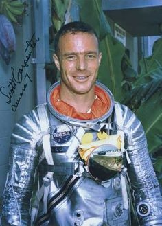 Malcolm Scott Carpenter (born May 1, 1925) was an American test pilot, astronaut and aquanaut. He is best known as one of the original seven astronauts selected for NASA's Project Mercury in April 1959. Carpenter was the second American to orbit the Earth and the fourth American in space, following Alan Shepard, Gus Grissom and John Glenn. Glenn is the last living member of the Mercury Seven.