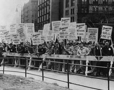 1954 New York City - Teamsters Union Members Holding picket signs for higher pay and pensions