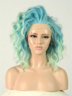 High quality synthetic drag queen wigs for drag race and drag show! More colors and styles for you to choice from at RayWigs.com! Mint Blue, Blue Ombre, Teal Green, Synthetic Lace Front Wigs, Synthetic Wigs, Green Queen, Sandy Blonde, Natural Blondes, Wig Cap