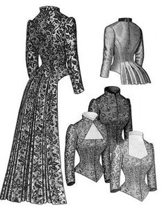 1883 Tailed Victorian Bodice instead of a train. Hmmmm...