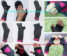 Rukavice z teplych ponozek :-)