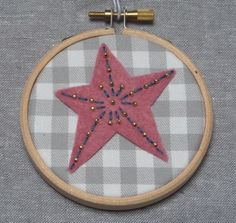Mini Embroidered Star Hoop Art Wall Decoration in Pink £9.00