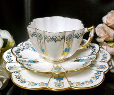 Wileman Shelley H PTD Aqua Blue Jewelled ON Gilded Daisy Trio C1890 | eBay