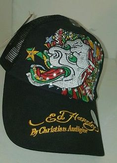 NWT Ed Hardy Trucker Hat Christian Audigier tattoo dragon blue hipster urban