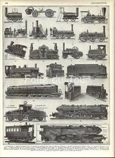 vintage 1930's trains | ... Train illustration - Vintage French Larousse Dictionary poster 1930
