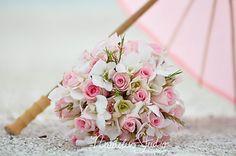 Brautstrauß hell rosa rosen und Orchideen