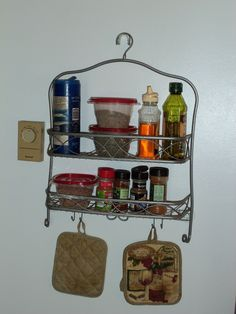 shower organizer turned kitchen organizer or key and mail organizer