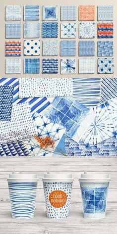 Shibori Indigo Watercolor Collection - https://www.designcuts.com/product/brush-strokes-pattern-collection/