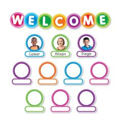 Welcome students back to school with this modern, colorful bulletin board set. Personalize labels with student photos or drawings. 44 large letters spelling W-E-L-C-O-M-E diameter), 37 student labels x teaching guide Welcome Students, New Students, Classroom Displays, Classroom Decor, Classroom Labels, Classroom Welcome Boards, Birthday Graph, Colorful Bulletin Boards, Student Birthdays