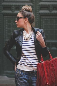 stripes and leather #streetstyle