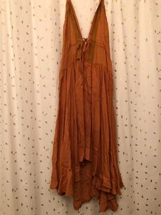 Burnt Orange, BOHO Halter Dress - Size: X-Small / Small Never worn. Missing 3 buttons on the back - pictured. *Will steam prior to shipping! V Neck Dress, Dot Dress, Black Biker Shorts, Back Pictures, Calf Length Dress, Love Clothing, Charlotte Russe Dresses, Sustainable Clothing, Purple Grey