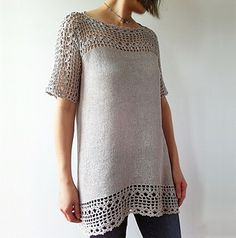 Julia - floral lace tunic (crochet+knit) by Vicky Chan (Fingering - Katio lino 100%)