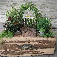 barn tools in the garden | Creating a Miniature Garden--As seen in Midwest Living Magazine